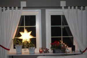 décoration-fenêtre-Noël-plantes-pots-métallques-étoile-lumineuse